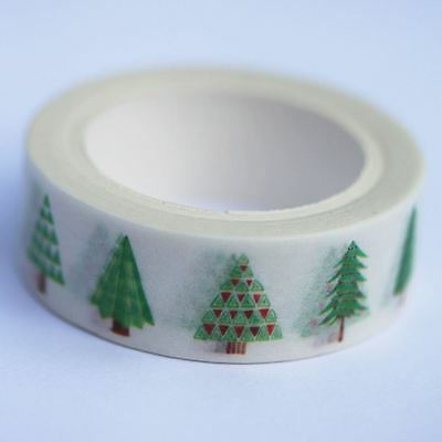 Christmas Trees Decorative Washi Tape Paper Tape - 8m x 15mm wide Xmas Craft