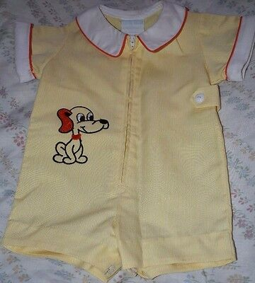 Betti Terell by Johnston Yellow with embroidered puppy Romper 12-18 months