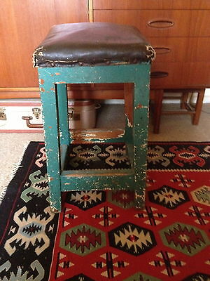 Vintage Industrial Stool Workbench 1930's Antique Retro Man Cave PU Only 3054