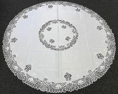 """72x72"""" Round Embroidery Cutwork Embroidered Tablecloth Napkins Elegant Linen"""