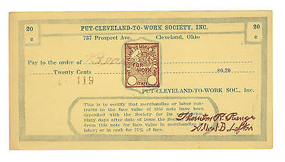 1933, Cleveland, Oh, Put Cleveland To Work, 20 Cts, Depression Scrip, Oh-262-.20