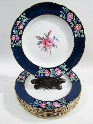 Antique SPODE Copeland PINK ROSE & Flowers 8 Luncheon Plates 2/6446 BILLINGSLEY