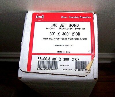 "Oce Ink Jet Plotter Paper 18LB 30"" x 300' Ft Roll Translucent Bond 2"" Core NEW"