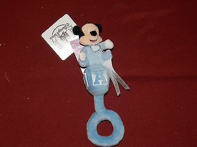 "Authentic Disney Parks 8"" Baby Mickey Mouse Rattle Plush New with tag"
