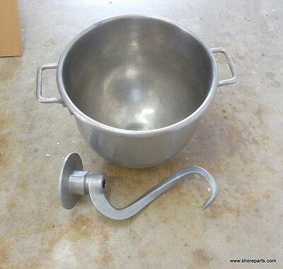 Hobart 30 QT Stainless Steel Mixer Bowl 275889/478596 & Dough Hook 437410