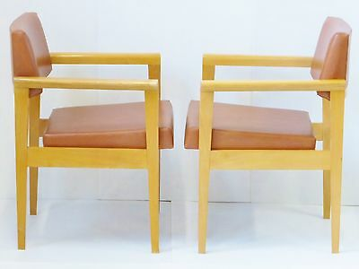 PAIR OF ARMCHAIRS 1950 SKAI BROWN OAK VINTAGE 50's MID CENTURY MODERN CHAIRS