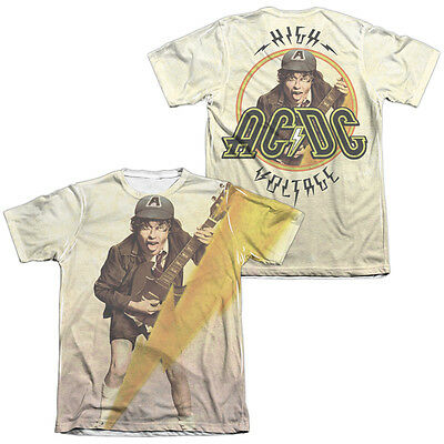 AC-DC ACDC Rock Band HIGHER VOLTAGE 2-Sided All Over Print Poly Cotton T-Shirt
