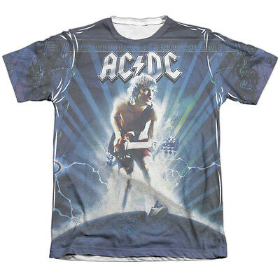 AC-DC ACDC Rock Band LIGHTNING 1-Sided Sublimated Big Print Poly Cotton T-Shirt