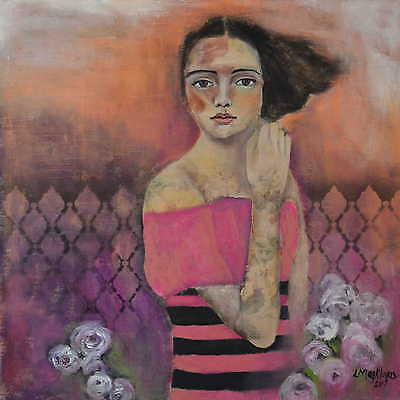 ORIGINAL Mixed Media Pink Roses Portrait Art Canvas Painting By L Magklaris