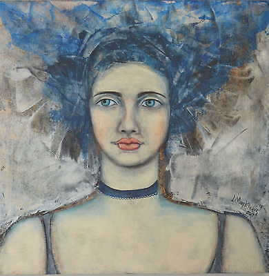 ORIGINAL Mixed Media Abstract Portrait Art Canvas Painting By L Magklaris