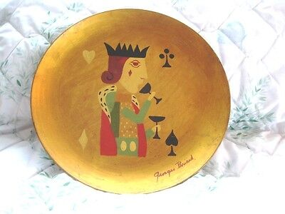 King of Spades Georges Briard Mid Century Folk Art Hand Painted Tole Tray