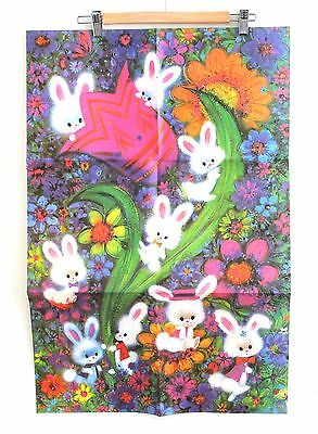 """Sheet of Bunny Vintage Gift Wrap Wrapping Paper Easter 1960s 20"""" x 30"""" Kids"""