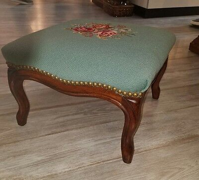 French Style Walnut Ottoman Footstool with Needlepoint Top Nailhead Trim