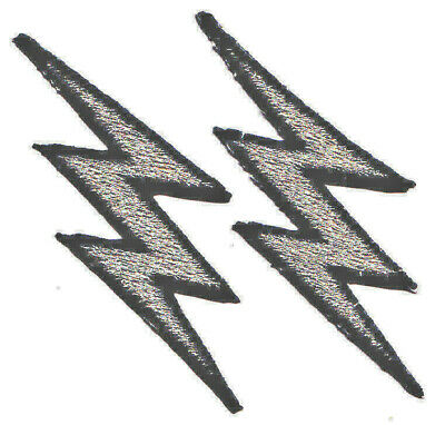 LIGHTNING BOLTS, SILVER METALLIC w/BLACK (2 PIECES) - IRON ON EMBROIDERED PATCH