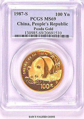 1987-S China Panda Gold 100 Yn Coin PCGS MS69 - 1 oz of .999 Gold