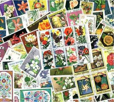 Flowers on Stamps Collection - 300 Different Stamps