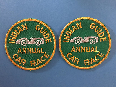 2 Lot Vintage 1960's YMCA Adventure Indian Guides Annual Car RacePatches A