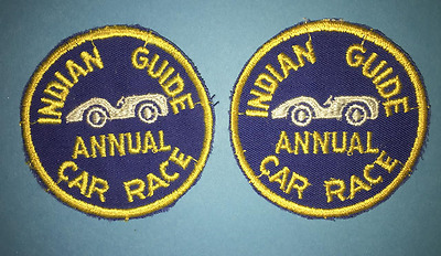 2 Lot Vintage 1960's YMCA Adventure Indian Guides Annual Car Race Patches C