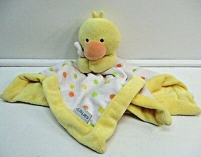 Carters Yellow Duck White Polka-Dot Baby Security Blanket Lovey Soft Toy Plush
