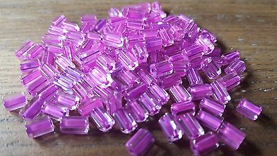 Antique Group of 50 Clear Fuchsia Very Old Crude Glass Pony Beads - 1800's