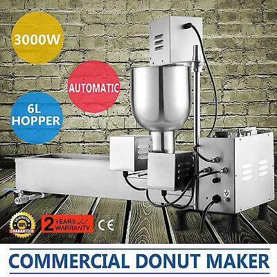 Donut Maker Making Machine Auto-Flip Function 6L Capacity Wider Oil Tank Great