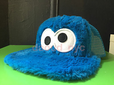 YOUTH SESAME STREET COOKIE MONSTER MESH TRUCKER CAP HAT faux fur snapback