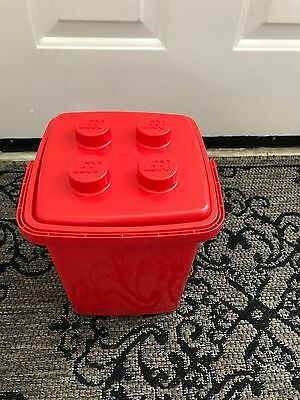 Lego EMPTY Storage Bucket Red with Lid