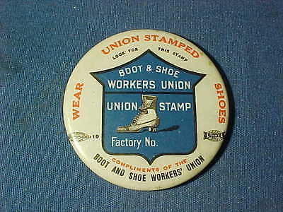 Early 20thc BOOT + SHOE WORKERS UNION Celluloid Advertising POCKET MIRROR