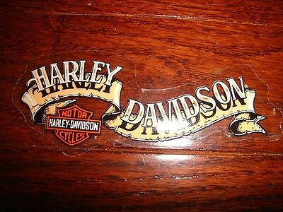 "Harley Davidson Vintage Sm Tan Banner Decal 4.25"" X 1.70"" (Inside) New"