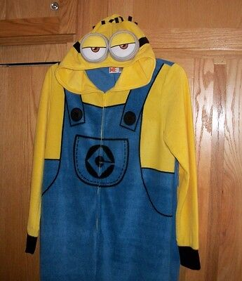 Despicable Me Adult Large One Piece Hooded Fleece PJ's / Costume - Zipper Front