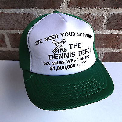 Vintage Snapback Railroad Dennis Depot Support Green Trucker Hat Baseball  Cap 22a06bb5b7c7