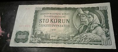 Czechoslovakia 1961 100 Korun  Circulated Old Banknote Paper Money Note