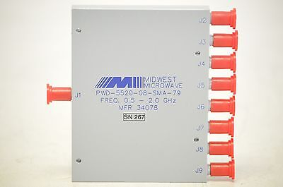Lot Qty 15 Pcs Midwest 1x8 Power Dividers PWD-5520-08-SMA-79 RF 0.5-2GHz