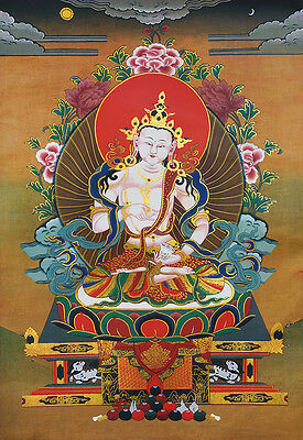"32"" Silk Brocaded Wood Scroll White Tara Thangka:vajrasattva, Lord Of Purificati"