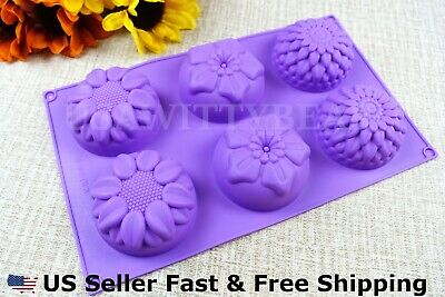 6 Cavity Flower Shaped Silicone DIY Handmade Soap Mold US Seller