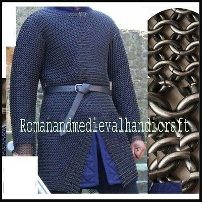 Chainmail Shirt Large F Sleeve Chain Mail Armor Butted Chainmaile Haubergeon