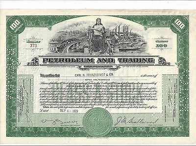 Petroleum And Trading Corporation...1929 Stock Certificate