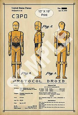 1979 Colorized Patent Art Print C3P0 Star Wars Protocal Droid Play Room Poster