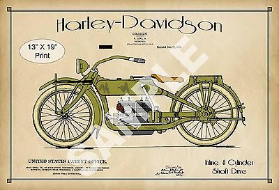 1919 Colorized Patent Art Print Harley Davidson Motorcycle Game Room Poster