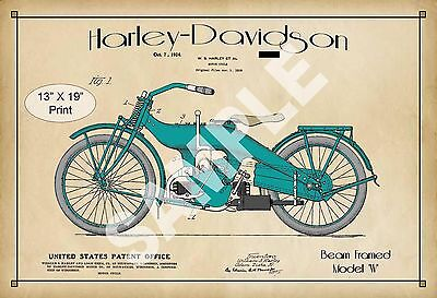 1924 Colorized Patent Print Harley Davidson Motorcycle Model W Play Room Poster