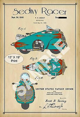 1935 Colorized Patent Art Print Cafe Racer Motorcycle Childs Play Room Poster