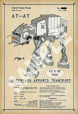 1982 Colorized Patent Art Print AT-AT Star Wars Childs Play Room Poster