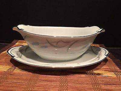 """Valmont China """"Royal Wheat"""" Porcelain Gravy Boat With Attached Plate 9 1/2"""""""