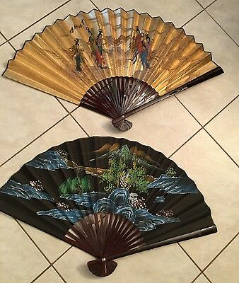 Lot Of 2 Beautiful Vintage Chinese H/painted Fans Signed