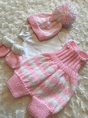 "New: Pretty Hand Knitted 4 Piece Outfit  For A 20"" Reborn Baby Girl"