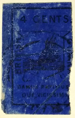 Stamp Briefmarke British Guiana Britisch Guyana very rare 4 ct blue SG10 (£9000)