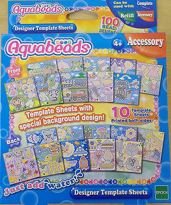 Aquabeads ~ Designer Template Sheets Set ~ Includes 10 Double Sided Templates