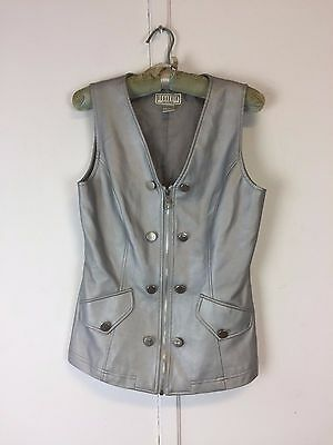 Vintage Mod 80's BB Dakota faux leather ? silver vest  read condition S