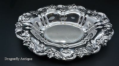 SUPERB Antique Ornate Silver Plated Deep Repousse Pin Dish Tray Bowl
