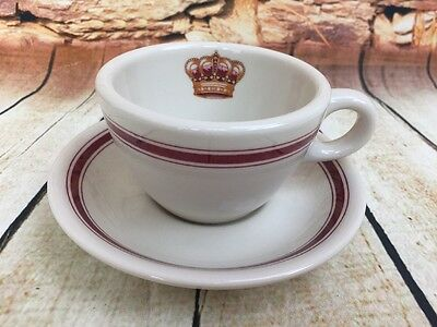 Vintage Hotel del Coronado Sterling Restaurant China Cup and Saucer Crown Red